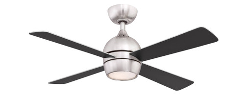 Fanimation FP7644BN Kwad - 44 inch - Brushed Nickel with Reversible Black/Brushed Nickel Blades and LED Light Kit At CLW Lighting!