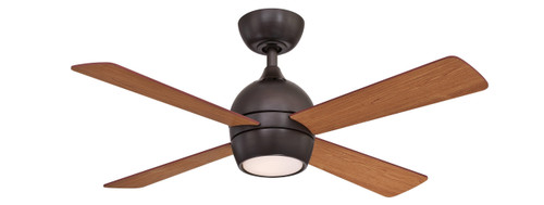 Fanimation FP7644DZ Kwad - 44 inch - Dark Bronze with Reversible Cherry/Dark Walnut Blades and LED Light Kit At CLW Lighting!