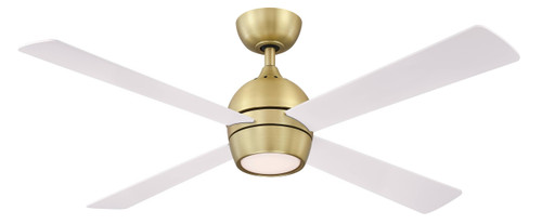Fanimation FP7652BS Kwad - 52 inch - Brushed Satin Brass with Matte White Blades and LED Light Kit At CLW Lighting!