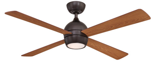 Fanimation FP7652DZ Kwad - 52 inch - Dark Bronze with Reversible Cherry/Dark Walnut Blades and LED Light Kit At CLW Lighting!