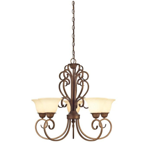 Westinghouse Lighting  6220600 REGAL SPRINGS 5 Light Chandelier Ebony Gold Finish Burnt Scavo Glass