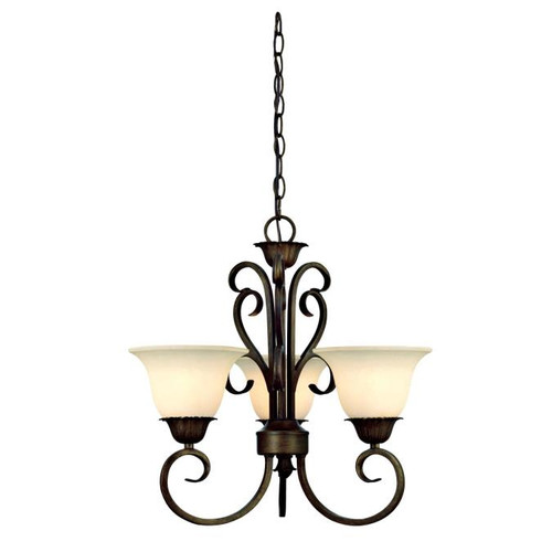 Westinghouse Lighting  6220700 REGAL SPRINGS 3 Light Chandelier Ebony Gold Finish Burnt Scavo Glass