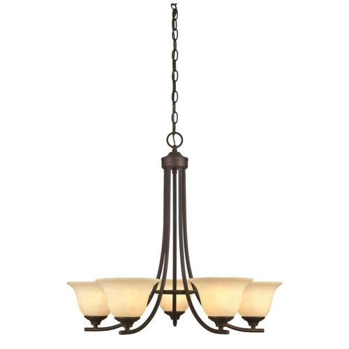 Westinghouse Lighting  6221400 KINGS CANYON 5 Light Chandelier Oil Rubbed Bronze Finish Burnt Scavo Glass