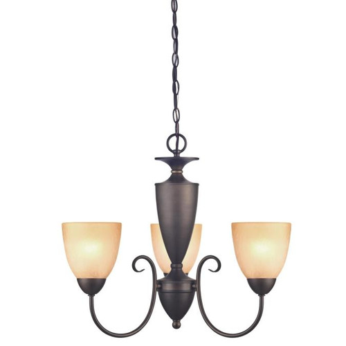 Westinghouse Lighting  6223000 CHAPEL HILL 3 Light Chandelier Oil Rubbed Bronze Finish Antique Amber Scavo Glass