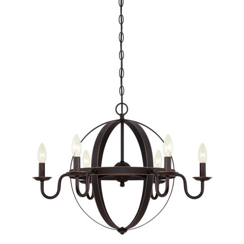 Westinghouse Lighting  6303300 BRIXTON 6 Light Chandelier Oil Rubbed Bronze Finish with Highlights