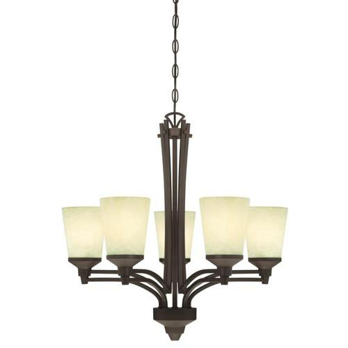 Westinghouse Lighting  6307100 MALVERN 5 Light Chandelier Oil Rubbed Bronze Finish Smoldering Scavo Glass