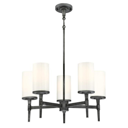 Westinghouse Lighting  6324700 COURTFIELD 5 Light Chandelier Distressed Aluminum Finish White Opal Glass