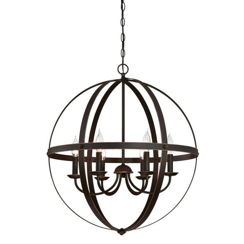 Westinghouse Lighting  6328200 STELLA MIRA 6 Light Chandelier Oil Rubbed Bronze Finish with Highlights
