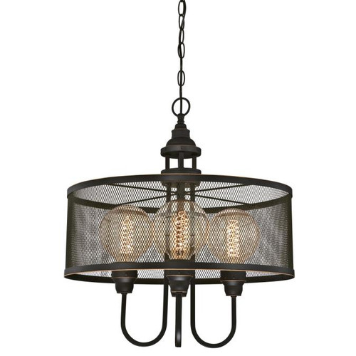 Westinghouse Lighting  6332900 WALTER 4 Light Chandelier Oil Rubbed Bronze Finish with Highlights Mesh Shade