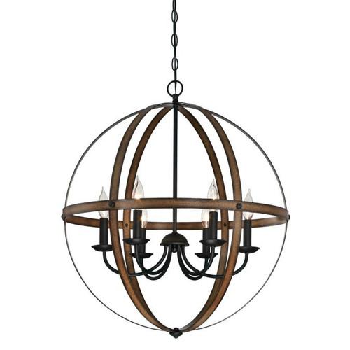 Westinghouse Lighting  6333600 STELLA MIRA 6 Light Chandelier Barnwood and Oil Rubbed Bronze Finish