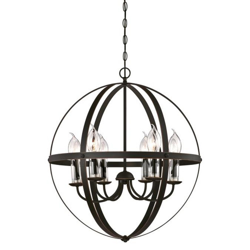 Westinghouse Lighting  6339000 STELLA MIRA 6 Light Chandelier Oil Rubbed Bronze with Highlights Clear Glass Candle Covers