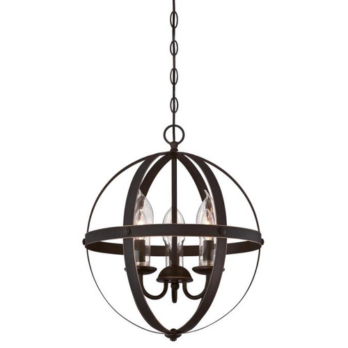 Westinghouse Lighting  6360600 STELLA MIRA 3 Light Chandelier Oil Rubbed Bronze Finish with Highlights Clear Glass Candle Covers