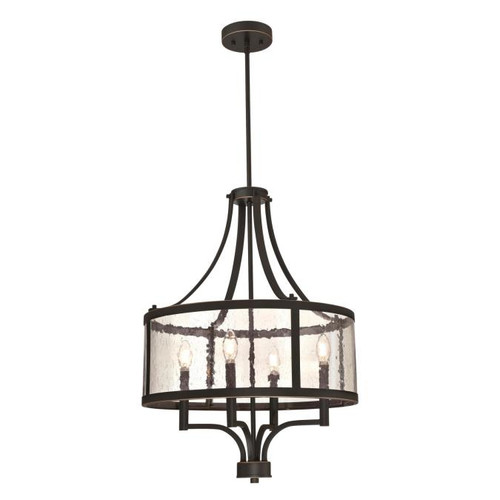 Westinghouse Lighting  6368400 BELLE VIEW 4 Light Chandelier Oil Rubbed Bronze Finish with Highlights Clear Seeded Glass
