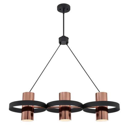 Westinghouse Lighting  6368900 ARIANA 3 Light Chandelier Matte Black Finish Copper Shades