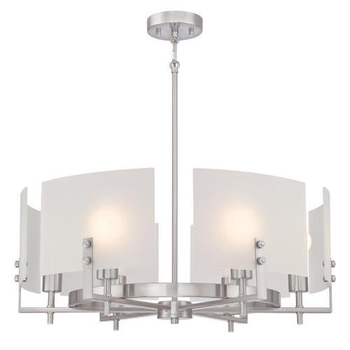 Westinghouse Lighting  6369400 ENZO JAMES 6 Light Chandelier Brushed Nickel Finish Frosted Glass