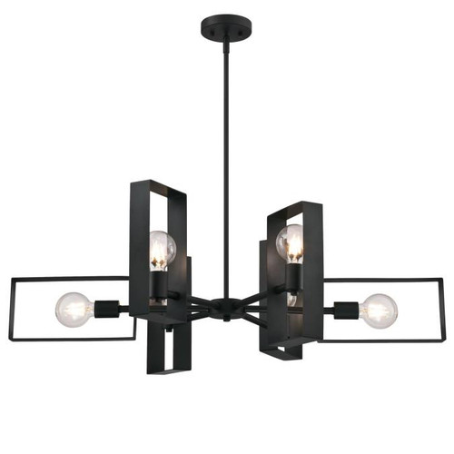 Westinghouse Lighting  6575600 PORTER 6 Light Chandelier Matte Black Finish