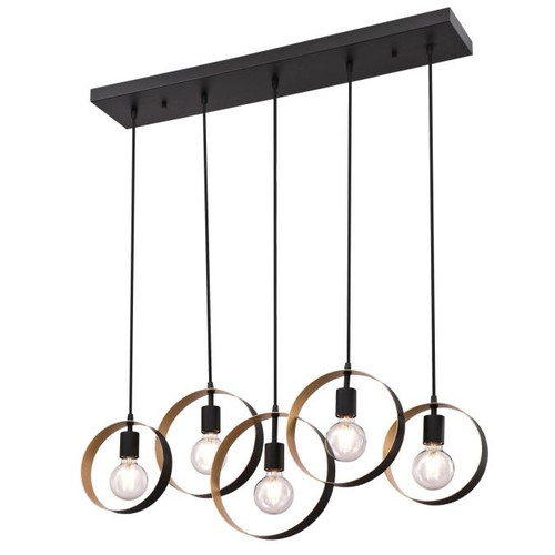 Westinghouse Lighting  6575700 OLYMPUS 5 Light Chandelier Matte Black Finish with Textured Gold Accents