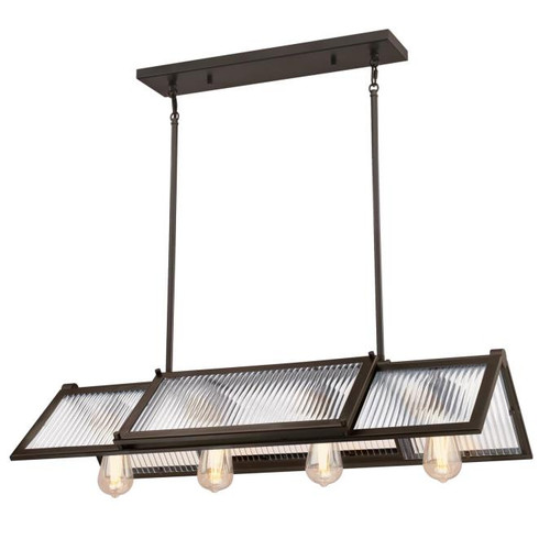 Westinghouse Lighting  6577200 FINN 4 Light Chandelier Oil Rubbed Bronze Finish Clear Ribbed Glass