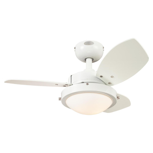 Westinghouse Lighting 7233300 Wengue 30-Inch Indoor Ceiling Fan with LED Light Fixture White Finish with Reversible White/Beech Blades, Opal Frosted Glass