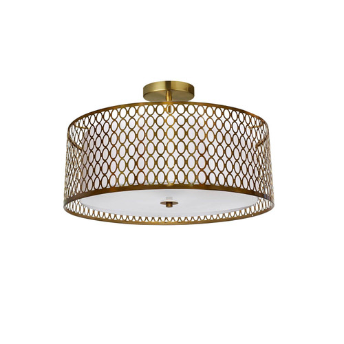 Dainolite Lighting  1015-16FH-AGB-WH 3 Light Aged Brass Semi-Flush Mount with White Shade and Laser Cut Outer