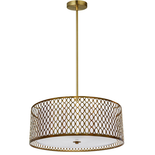 Dainolite Lighting  1015-17P-AGB-WH 3 Light Aged Brass Pendant with White Shade and Laser Cut Outer