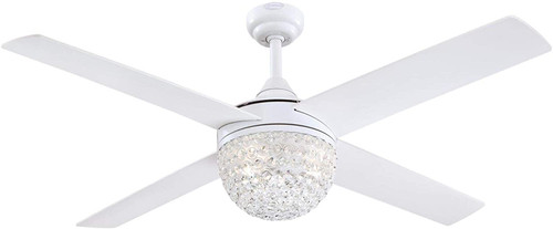 Westinghouse Lighting 7226200 - Kelcie 52-Inch Indoor Ceiling Fan with Dimmable LED Light FixtureWhite Finish with Reversible White/Silver Blades, Crystal Jewel Shade, Remote Control Included