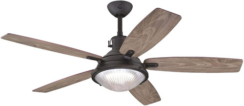 Westinghouse Lighting 7226700 - Crescent Cove 52-Inch Indoor/Outdoor Ceiling Fan with LED Light Fixture Oil Rubbed Bronze Finish with Reversible Pewter Ash/Walnut ABS Blades, Clear Prismatic Glass, Remote Control Included