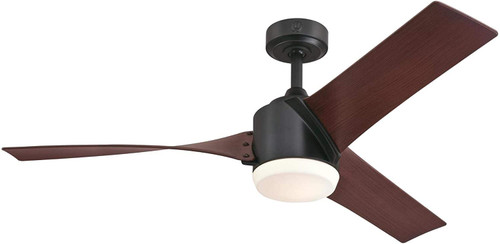 Westinghouse Lighting 7227000 Evan 52-Inch Indoor Ceiling Fan with LED Light Fixture Matte Black Finish with Walnut ABS Blades, Opal Frosted Glass, Remote Control Included