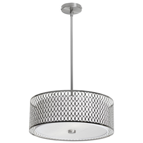 Dainolite Lighting  1015-17P-SC 3 Light Pendant with Laser Cut Shade, Satin Chrome Finish,Glass Diffuser