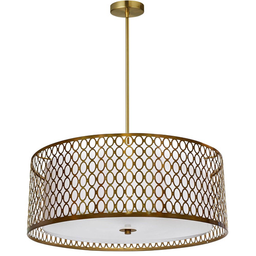 Dainolite Lighting  1015-22P-AGB-WH 3 Light Incandescent Pendant Aged Brass with White Shade