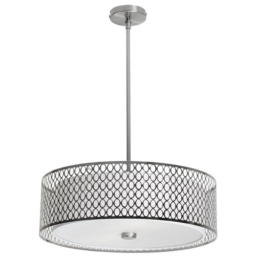 Dainolite Lighting  1015-22P-SC 3 Light Pendant with Laser Cut Shade,  Satin Chrome Finish, White Shade, Frosted Glass Diffuser
