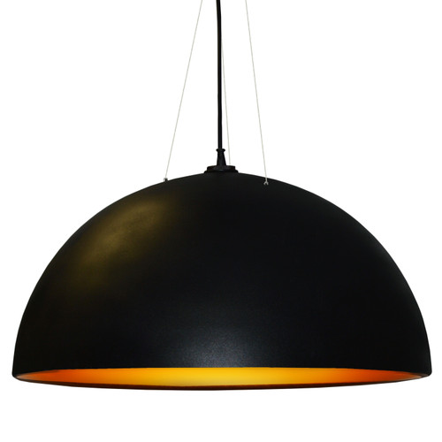 Dainolite Lighting  114-313P-BK-GLD 3 Bulb Pendant, Black & Gold Finish
