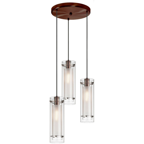 Dainolite Lighting  12153R-CF-OBB 3 Light Round Pendant, Oil Brushed Bronze Finish, Clear Frosted Glass