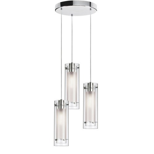 Dainolite Lighting  12153R-CF-PC 3 Light Round Pendant, Polished Chrome Finish, Clear Frosted Glass