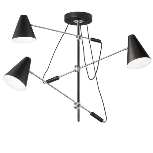 Dainolite Lighting  130-553P-BK-PC 3 Light Pendant with Adjustable Arms & Metal Shades, Polished Chrome, Matte Black Finish