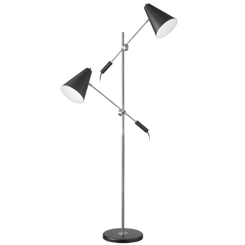 Dainolite Lighting  130F-BK-PC 2 Light Floor Lamp, Polished Chrome / Matte Black Finish
