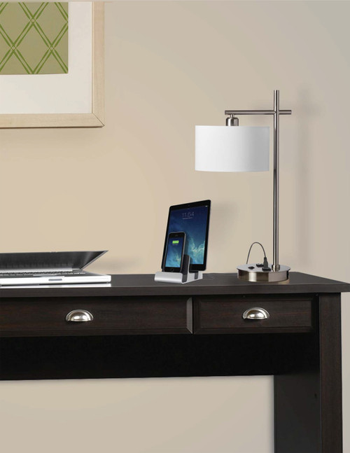 Dainolite Lighting  131T-SC 1 Light Incandescent Table Lamp with USB Port and Receptacle, Satin Chrome Finish