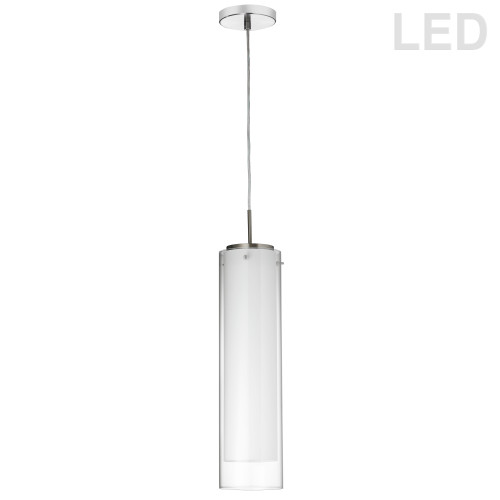 Dainolite Lighting  135LEDP-CF-PC 15W LED Pendant Polished Chrome Finish with White and Clear Glass