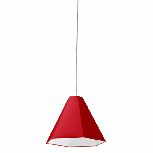 Dainolite Lighting  141P-PC-RD 1 Light Incandescent Pendant Polished Chrome with Red Shade