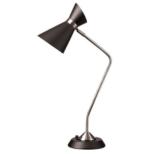 Dainolite Lighting  1679T-BK-PC 1 Light Table Lamp, Matte Black /Polished Chrome