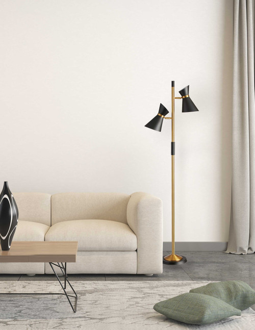 Dainolite Lighting  1680F-BK-VB 2 Light  Floor Lamp, Matte Black / Vintage Bronze Base