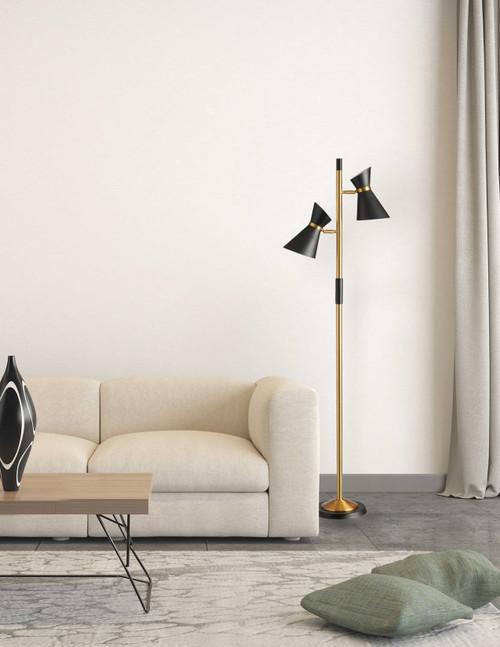 Dainolite Lighting  1680F-BK-VB 2 Light  Floor Lamp, Matte Black / Vintage Bronze Base