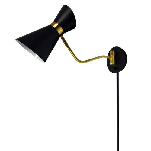 Dainolite Lighting  1681W-BK-VB 1 Light Swing Arm Lamp, Black / Vintage Bronze Finish