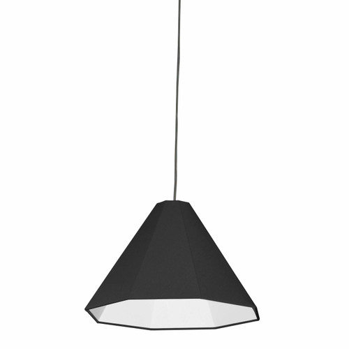 Dainolite Lighting  181P-PC-BK 1 Light Incandescent Pendant Polished Chrome with Black Shade