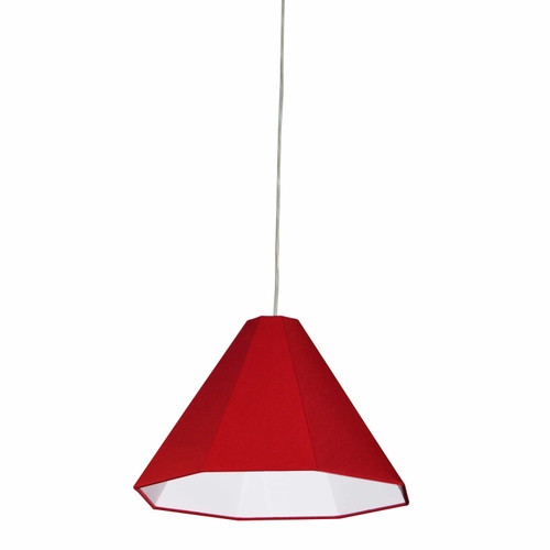 Dainolite Lighting  181P-PC-RD 1 Light Incandescent Pendant Polished Chrome with Red Shade