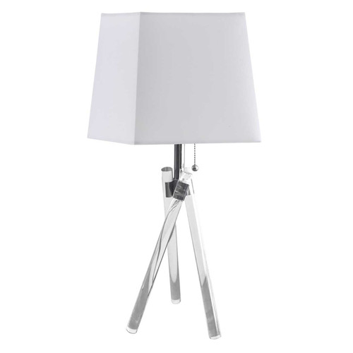Dainolite Lighting  183T-PC 1 Light Incandescent Table Lamp Acrylic Legs with White Shade