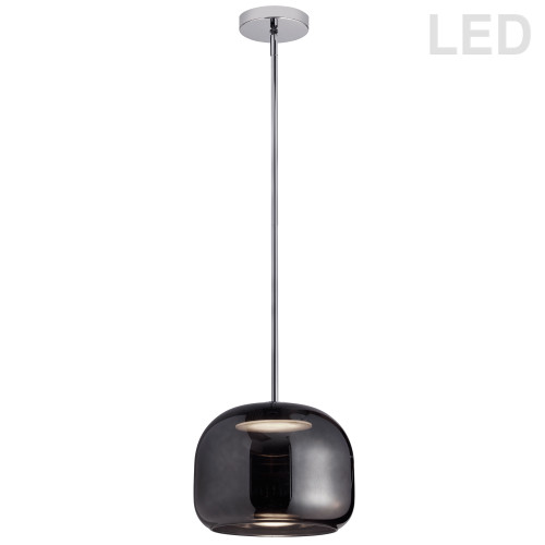 Dainolite Lighting  2065LED-1P-SM-PC 8W LED Pendant Polished Chrome Finish with Smoked Glass