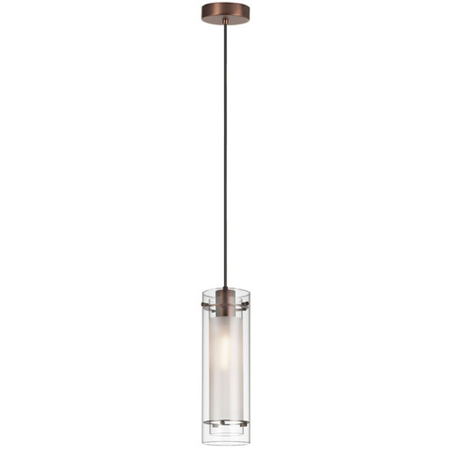 Dainolite Lighting  22152-CF-OBB 1 Light Pendant, Oil Brushed Bronze Finish, Clear Frosted Glass