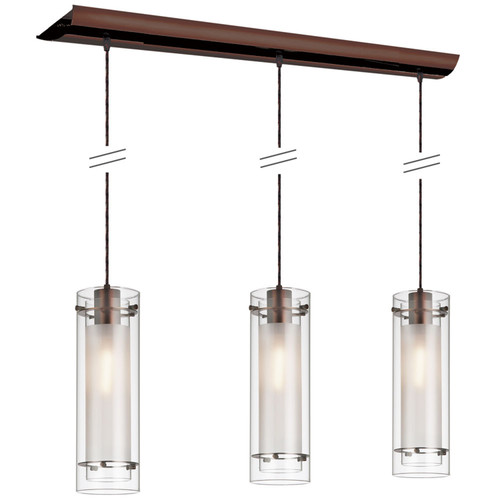 Dainolite Lighting  22153-CF-OBB 3 Light Horizontal Pendant, Oil Brushed Bronze Finish, Clear Frosted Glass