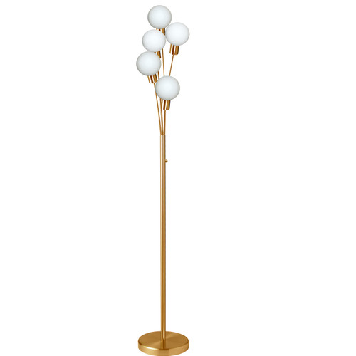 Dainolite Lighting  306F-AGB 5 Light Incandescent Floor Lamp Aged Brass Finish with White Glass